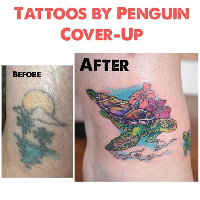 Coverup tattoo on an ankle